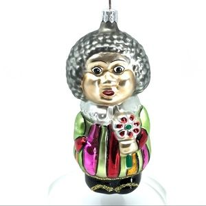 SOLD Glass African American Lady Glass Ornament